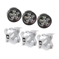 Rugged Ridge 15210.15 Silver Round X-Clamp & LED Light Kit - 3 Pieces