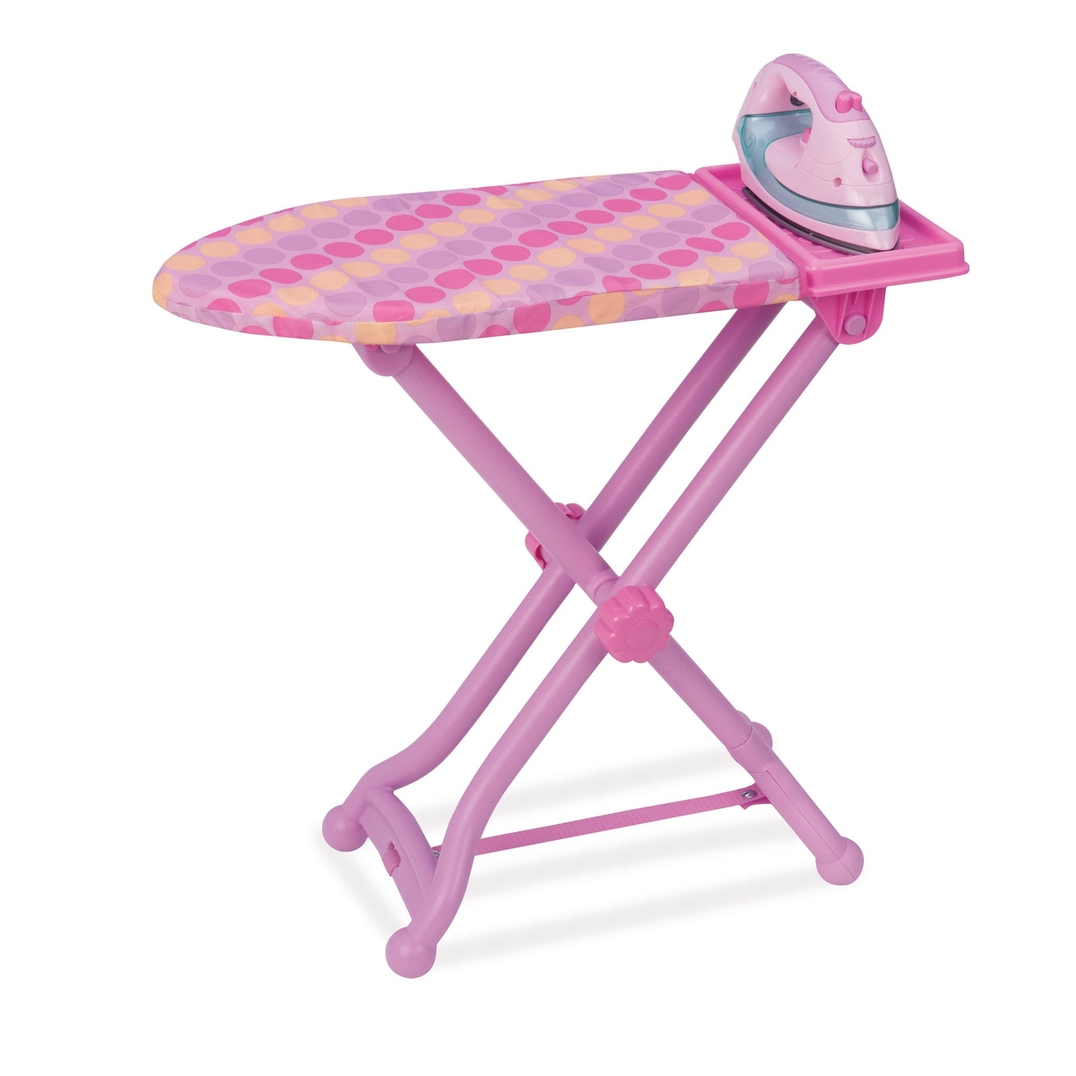 Play Circle by Battat – Best Pressed Ironing Board Set with Stand – Pink Iron with Working Light and Steam Sounds for Pretend Play House – Toy Cleaning Accessories for Kids Ages 3 and Up (3 Pieces)
