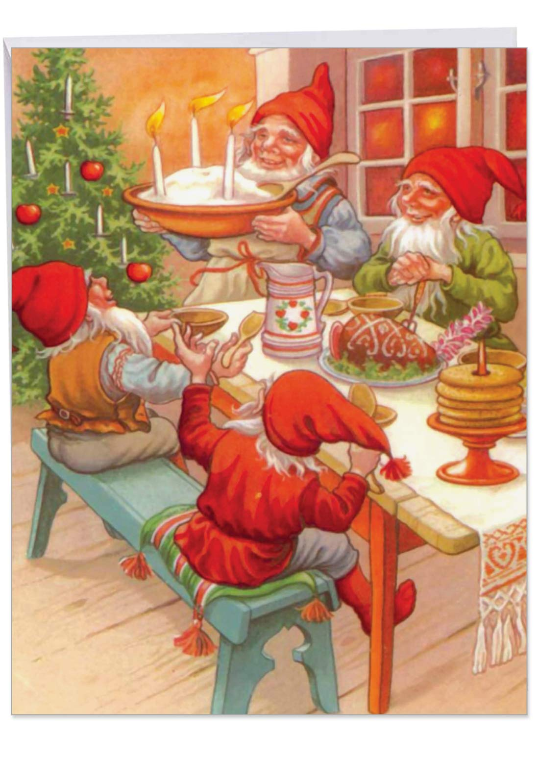 Gnome for the Holidays - Retro Merry Christmas Card with Envelope (Big 8.5 x 11 Inch) - Classic Gnome Family Dinner, Sweet Season's Greetings - Vintage Happy Holidays Stationery J6440BXSG