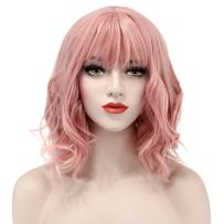 Acecharming Pink wigs with bangs,Short Curly Women Girl's Charming Synthetic Wig Pink Wigs for Cosplay (Wig Cap Included)
