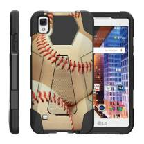TurtleArmor | Compatible with LG Tribute HD Case | LG Volt 3 | LG X Style [Dynamic Shell] Dual Hybrid Hard Impact Silicone Cover Kickstand Sports and Games - Pile of Baseballs