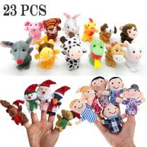 Sealive 23pcs Plush Finger Puppets, Small Stuffed Animals Easter Egg Stuffers for Toddlers, 5 Christmas Toys Santa Claus Finger Couple, 6 Family Members and 12 Zodiac Animal Hand Puppet for Kids Adult