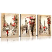 Paris Street Painting Eiffel Tower and Statue of Liberty Pictures Canvas Print Art for Bedroom Decoration Ready to Hang