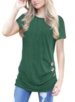 Dewapparel Women Short Sleeve Solid Color Loose Button Trim Blouse Round Neck Tunic Top T-Shirt