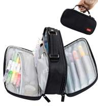 Pencil Case Pen Bag Holder Pouch Large Handle Big Capacity Desk Organizer Storage Marker Box Stationary Makeup Cosmetic Double Zippers for School Office Students Teen (black)