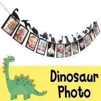 LINGTEER Dinosaur Party Happy Birthday Banner Sweet 1st Baby Shower Baby First Birthday Kids Bday Picture Photo Booth Personalized DIY Banner Party Decorations - Black