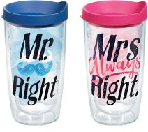 Tervis 1254796 Mr. Right and Mrs. Always Right Tumbler with Wrap and Assorted Lid 2 Pack 16oz, Clear