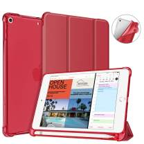 Fintie Case with Pencil Holder for iPad Mini 5 2019 - SlimShell Lightweight Soft TPU Back Protector Translucent Frosted Cover with Auto Wake/Sleep, Red