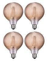 Vintage LED Edison Bulbs, Dimmable 4W Globe G125/G40, 2200K Warm White Lighting for Decoration, E26 Medium Base, Squirrel Cage Filament LED Light Bulbs, Amber Glass, Harwez, 4 Pack
