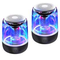 [2 Pack] Bluetooth Portable Speaker, True Wireless Stereo Speakers, Crystal Clear Stereo Sound, Rich Bass, 100 Ft Wireless Range, Microphone, LED Light Show, TF Card, Aux in, Mini Small Pocket Size