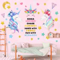 3 Sheets Large Size Unicorn Wall Decals Removable Unicorn Wall Decor Stickers for Girls Kids Bedroom Nursery Birthday Party Favor (3 PCS)