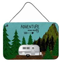 Caroline's Treasures VHA3022DS812 Airstream Camper Adventure Awaits Wall or Door Hanging Prints, 8x12, Multicolor