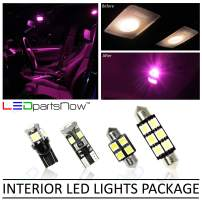 LEDpartsNow Interior LED Lights Replacement for 2006-2012 Honda Civic Accessories Package Kit (6 Bulbs), PINK