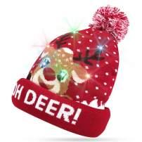 Kaqulec LED Light Up Hat Beanie Knit Cap Christmas Cap Unisex Winter for Holiday Christmas Xmas Hat
