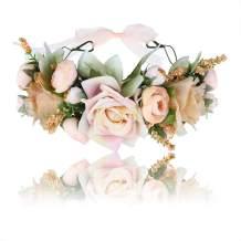 AWAYTR Bohemia Big Lilies Floral Crown Party Wedding Hair Wreaths Hair Bands Flower Headband (Cream white-1)