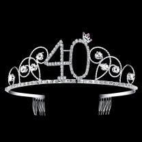 BABEYOND Crystal Birthday Tiara Crown Princess Birthday Crown Hair Accessories Happy 40th Birthday Crown Tiara for Women (40 Birth)
