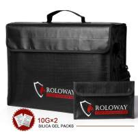 ROLOWAY Large (17 x 12 x 5.8 inches) Fireproof Bag, XL Fireproof Document Bags with Bonus Bag, Fireproof Safe and Water Resistant Bag for Money, Legal Documents, Files, Valuables