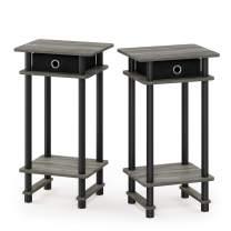 FURINNO Turn-N-Tube Tall End Table, French Oak Grey/Black/Black