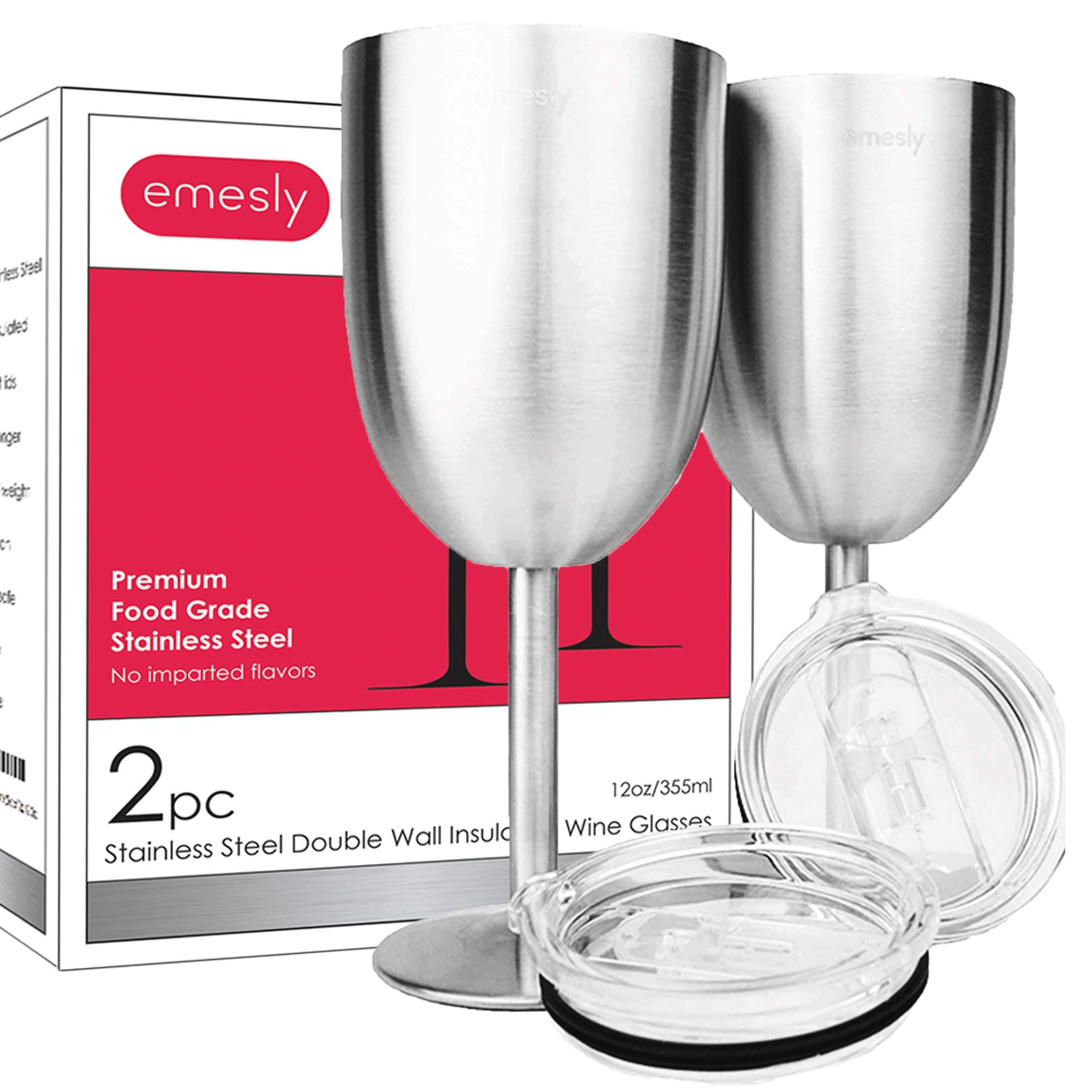 Stainless Steel Wine Glasses Double-Walled Insulated (Set of 2) Unbreakable Goblets; Metal Stemmed Wine Tumblers with Leak Resistant Lids for Red & White Wine, 12 Oz.