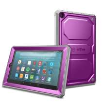 Fintie Shockproof Case for All-New Amazon Fire 7 Tablet (9th Generation, 2019 Release) - Rugged Unibody Hybrid Full Protective Bumper Cover with Built-in Screen Protector, Purple
