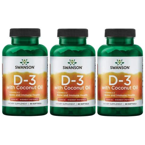 Swanson Vitamin D-3 with Coconut Oil - Highest Potency 5,000 Iu 60 Sgels 3 Pack