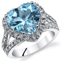 5.25 Carats Heart Shape Swiss Blue Topaz Ring Sterling Silver Sizes 5 to 9