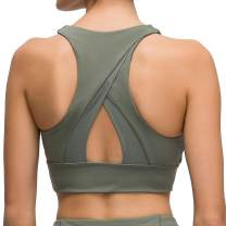 Lavento Women's Sports Bra Medium Support Workout Yoga Longline Tops