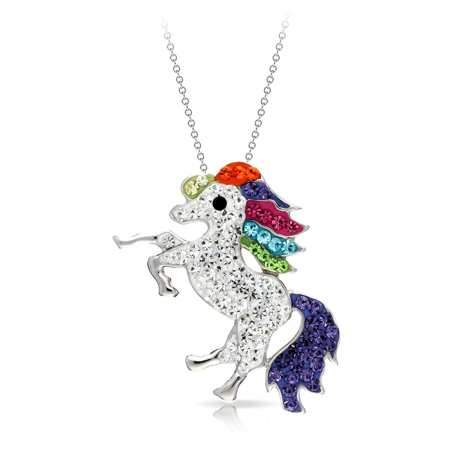 Colorful and Mythical Rearing Horse Pendant Necklace Never Rust 925 Sterling Silver Natural and Hypoallergenic Chain, for Women and Girls, with Free Breathtaking Gift Box for Special Moments of Love