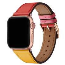 WFEAGL Compatible iWatch Band 40mm 38mm,Top Grain Leather Band with Gold Adapter(The Same as Series 5/4/3 with Gold Aluminum Case in Color) for Series 5/4/3/2/1 (Amber/Red Band+Rosegold Adapter)