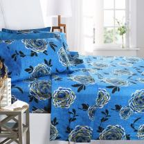 Printed Bed Sheet Set, Full Size - Blue Buttercup - By Clara Clark, 6 Piece Bed Sheet 100% Soft Brushed Microfiber, With Deep Pocket Fitted Sheet, 1800 Luxury Bedding Collection, Hypoallergenic,
