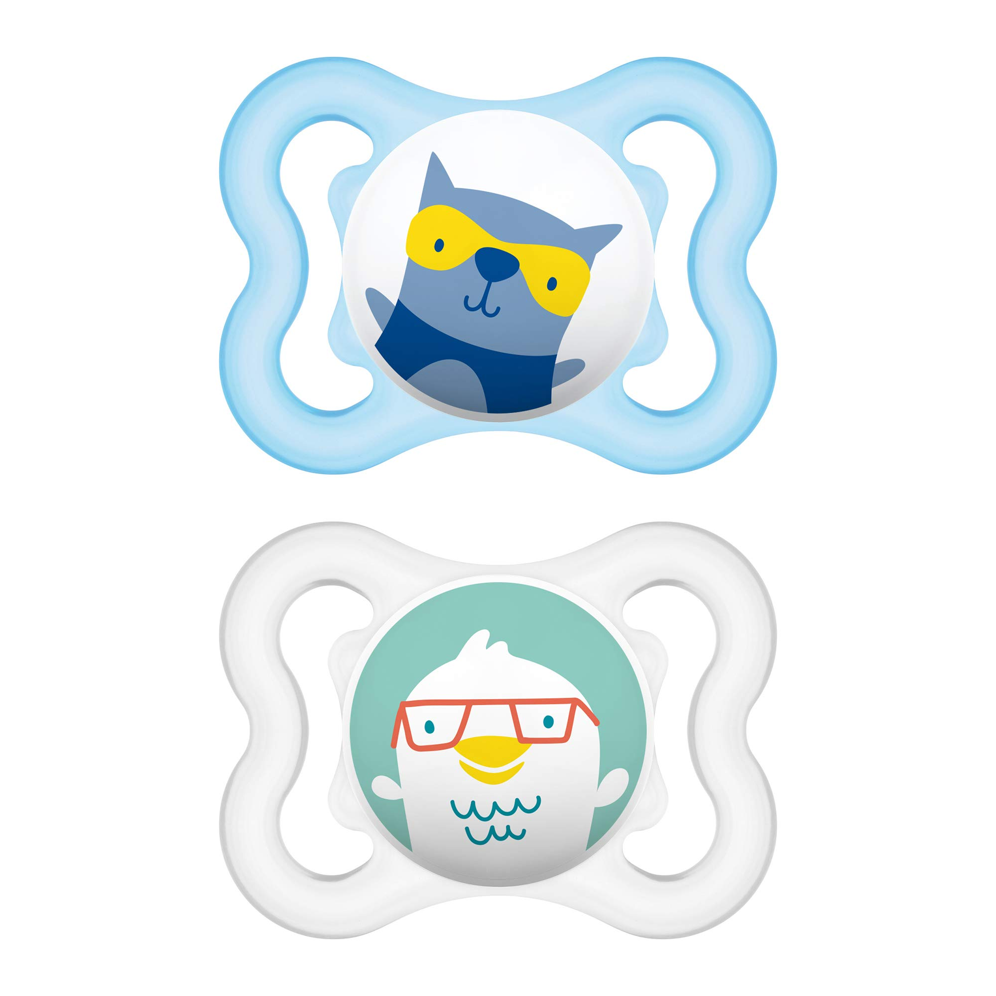 MAM Mini Air Pacifiers (2 pack), MAM Sensitive Skin Pacifier 0-6 Months, Best Pacifier for Breastfed Babies, Baby Boy Pacifiers