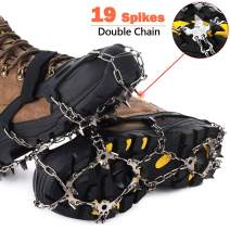 Aliwendy Crampons Traction Cleats,19 Spikes Ice Snow Grips for Boots Shoes,Anti-Slip Stainless Steel Spikes,Safe Protect for Hiking,Fishing,Walking, Climbing, Jogging Mountaineering