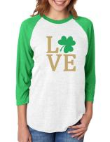 Irish Clover Love St. Patrick's Day 3/4 Women Sleeve Baseball Jersey Shirt XX-Large Green/White