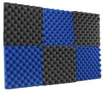 "New Level 6 Pack - Ice Blue/Charcoal Acoustic Panels Studio Foam Egg Crate 2"" X 12"" X 12"""