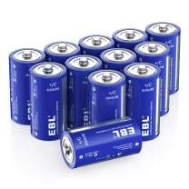 EBL C Batteries - Long Lasting Performance Alkaline C Cell Batteries for Household and Business(12 Battery Count)