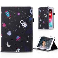 PBRO Case for iPad 9.7 2018/2017,iPad 9.7 iPad 5th / 6th Generation Cute Astronaut Leather Design Trifold Case with Pencil Holder Ultra Slim ase with Sleep/Wake Cover for iPad 2017/2018,Space/Black