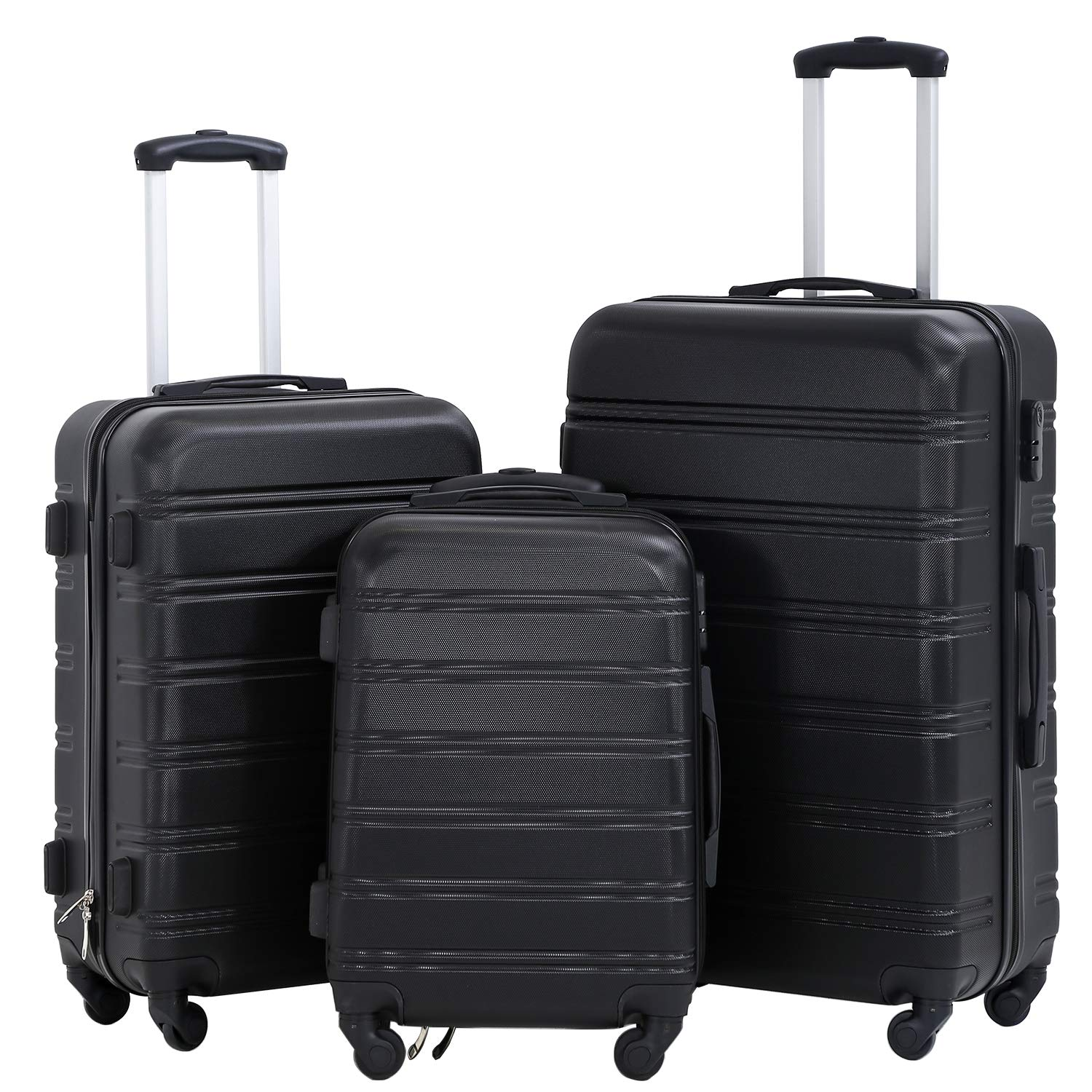 Hard shell Luggage Sets with Spinner Wheels 3 Piece Suitcase Luggage Set for women Lightweight with Durable ABS Hard shell Password Lock 20 24 28 inch Black