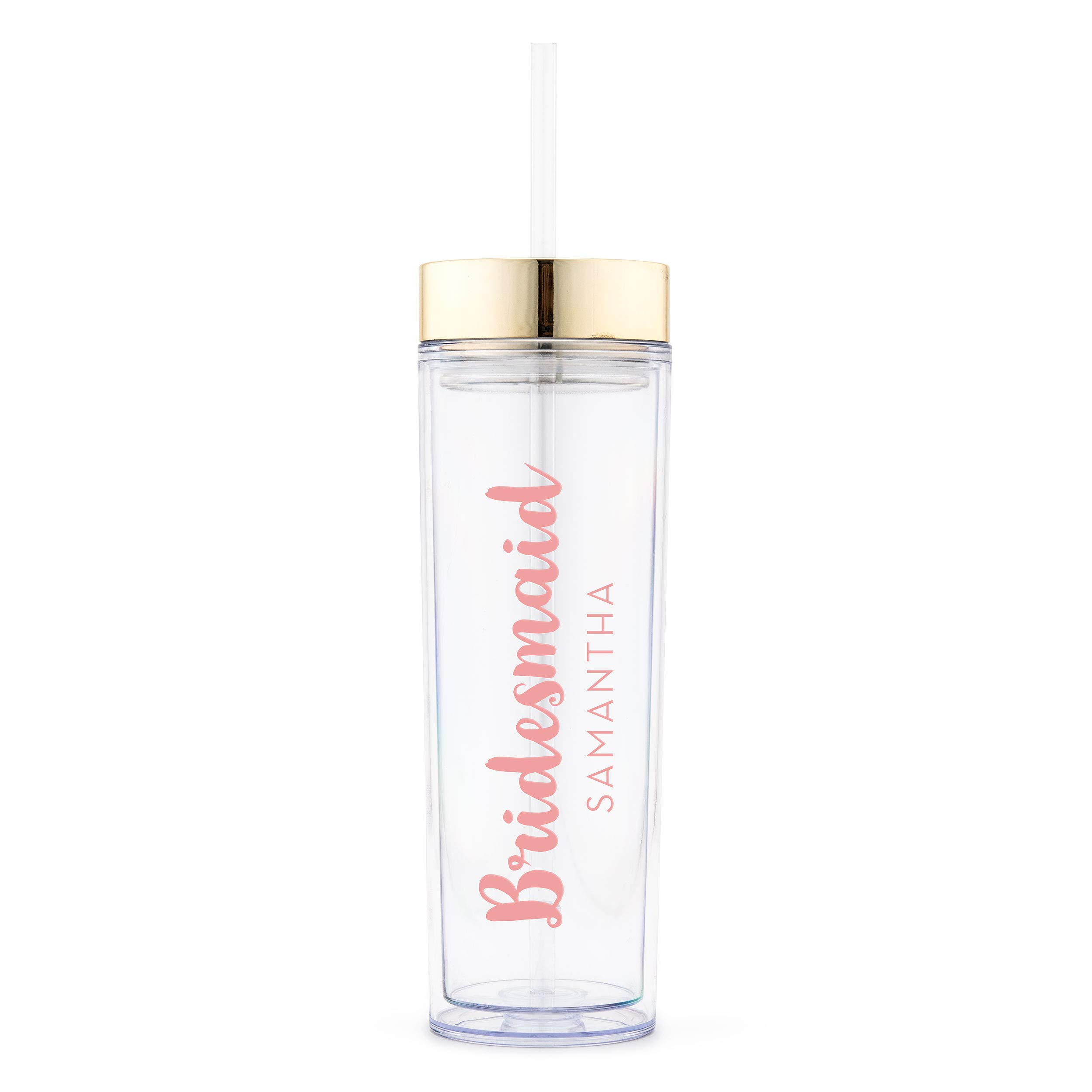 Weddingstar Reusable Water Bottle 16 Ounce – Customizable Eco-Friendly Plastic – 100% BPA-Free Personalized Transparent Party Cup with Straw – Gold – Retro Luxe Bridesmaid