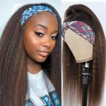 20 Inch Ombre Blonde Highlight Kinky Straight Headband Wigs Human Hair for Black Women Brazilian Virgin Hair Glueless Brown mixed Kinky Straight None Lace Front Human Hair Wig(#4/27 KS Headband Wig)