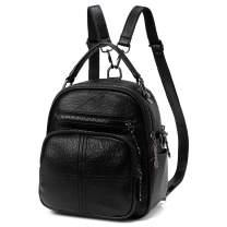 Mini Backpack Purse, Kasqo Fashion Square Small Convertible PU Leather Backpack Shoulder Bag for Women Teen Girls-Black