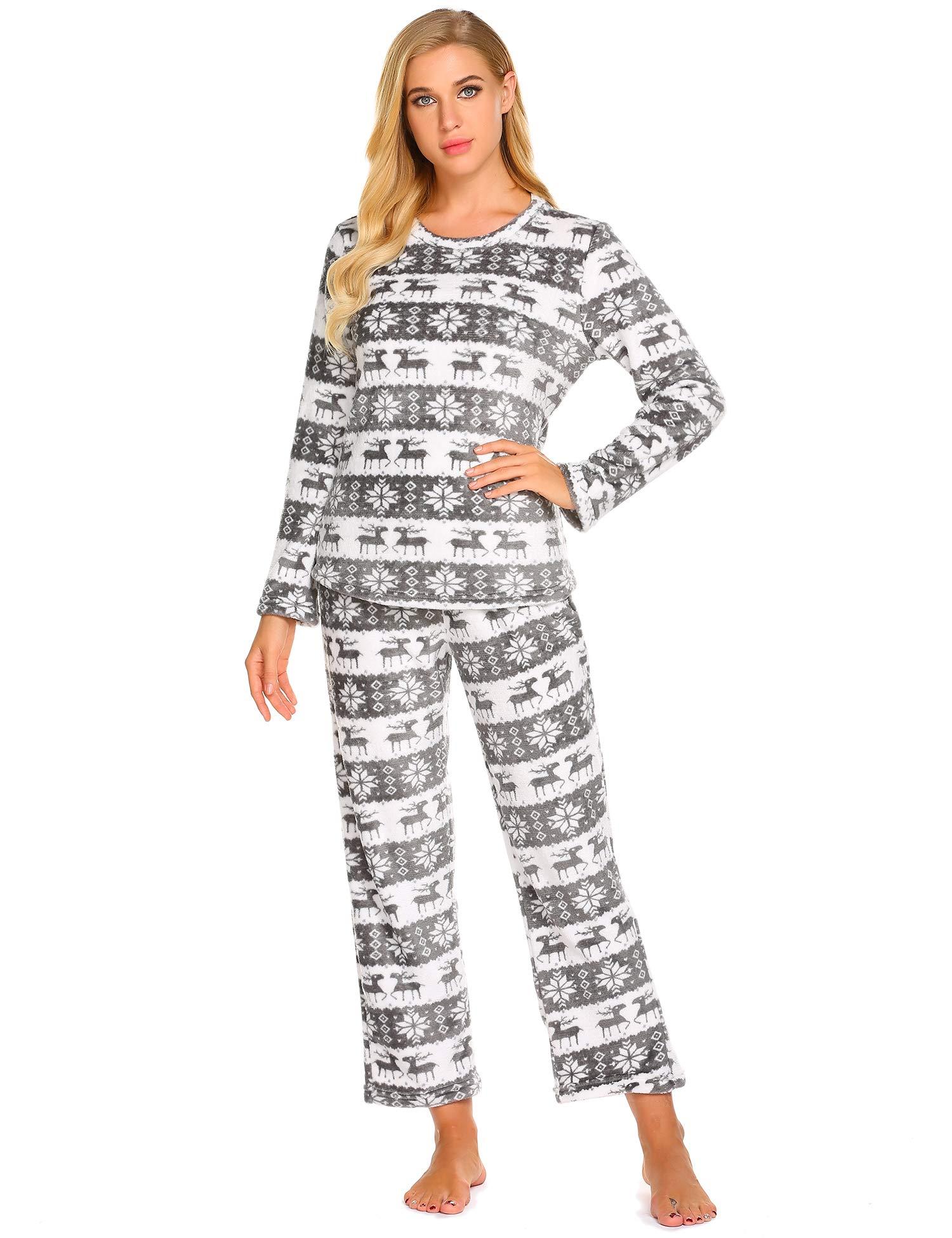 MAXMODA Women's Christmas Pajama Set Fleece Loungewear Sleepwear S-XXL