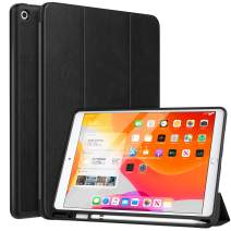 """MoKo Case Fit 2019 New iPad 10.2"""" with Apple Pencil Holder, Slim Lightweight Smart Shell Stand Cover Case Fit iPad 7th Gen 2019, Auto Wake/Sleep - Black"""