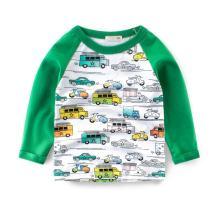 Motteecity Fashion Boys Long Sleeve Patchwork Cartoon Cars Casual Fall Spring T-Shirt