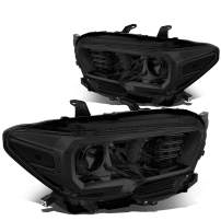 Pair of Smoked Housing Clear Corner Projector Headlights Assembly Lamps Replacement for Toyota Tacoma N300 16-20