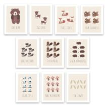 "Kindred Sol Collective Woodland Counting Cards Nursery Wall Art Decor Set of 10 5"" x 7"" Art Posters for Kids Featuring Nature and Forest Animals"