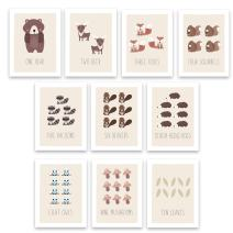 """Kindred Sol Collective Woodland Counting Cards Nursery Wall Art Decor Set of 10 5"""" x 7"""" Art Posters for Kids Featuring Nature and Forest Animals"""