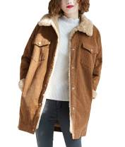 Yimoon Women's Mid-Length Loose Sherpa Fleece Lined Corduroy Jacket