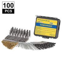 COMOWARE Drill and Driver Bit Set, 100 Piece, Twist Drill Bit & Screwdriver Bits, Masonry Drill Bit, Brad Point Drill Bit, Titanium Coated HSS Bits Set for Drilling and Driving Metal, Wood and Cement