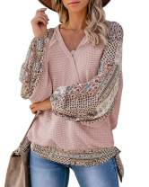 Womens Patchwork Waffle V Neck Sweatshirts Boho Wrap Cross Puff Sleeve Knot Tie Front Casual Blouses