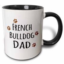 3dRose French Bulldog Dog Dad - Doggie by breed - brown muddy paw prints Mug, 11 oz, Black